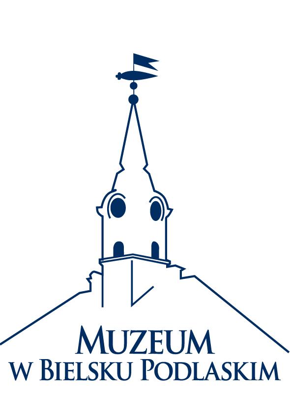 Granatowo - białe logo Muzeum w Bielsku Podlaskim