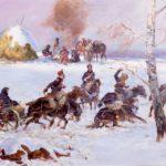 Na obrazie jeźdźcy na koniach uciekający w odwrocie spod Moskwy. Obraz przedstawia zimę.