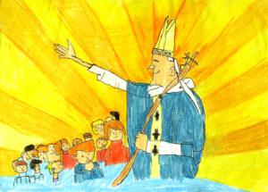 Jan Paweł II wyciąga w górę rękę, a przed nim stoją dzieci.