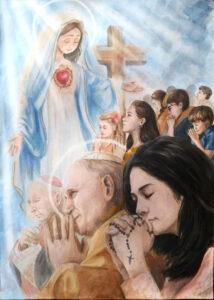 Grupa osób modlących się – Kardynał Wyszyński, Jan Paweł II, kobieta z różańcem. W tle Maryja z rozłożonymi rękami i otwartym sercem oraz krzyż.