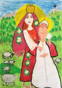 Papież w objęciach Maryi w czerwonym, kwiecistym stroju ludowym i złotej koronie na głowie. W tle góra z krzyżem, las, owce.]