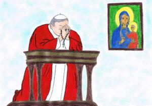 Jan Paweł II na klęczniku z różańcem wplecionym w dłonie przed jasnogórskim obrazem Maryi z Jezusem. Tło w odcieniach bieli i błękitu