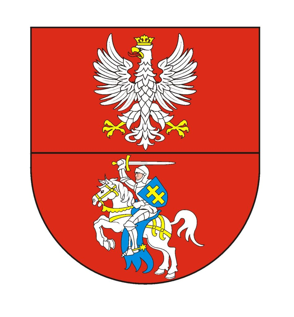 Herb Województwa Podlaskiego, czerwona tarcza dwudzielna w pas, w polu górnym biały orzeł, dolnym rycerz na koniu, w zbroi z mieczem i tarczą