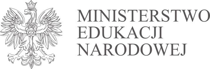 Monochromatyczne Logo Ministerstwa Edukacji Narodowej z orłem w koronie i nazwą Ministerstwa