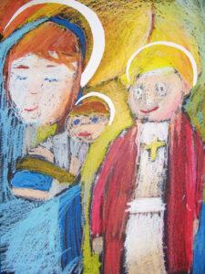 Maryja z dzieciątkiem na rękach, obok Jan Paweł II