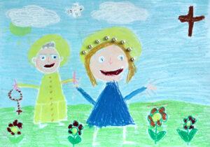 Papież z różańcem w dłoni i Maryja na łące z kwiatami. W tle niebo, chmury, słońce, gołębica i krzyż