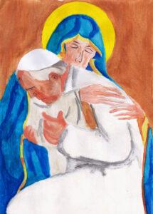 Jan Paweł II w objęciach Maryi. Maryja w niebieskich szatach. Brązowe, jednolite tło