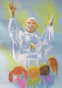 Jan Paweł II z uniesionymi ku górze dłońmi. W dole czworo dzieci zwróconych ku papieżowi