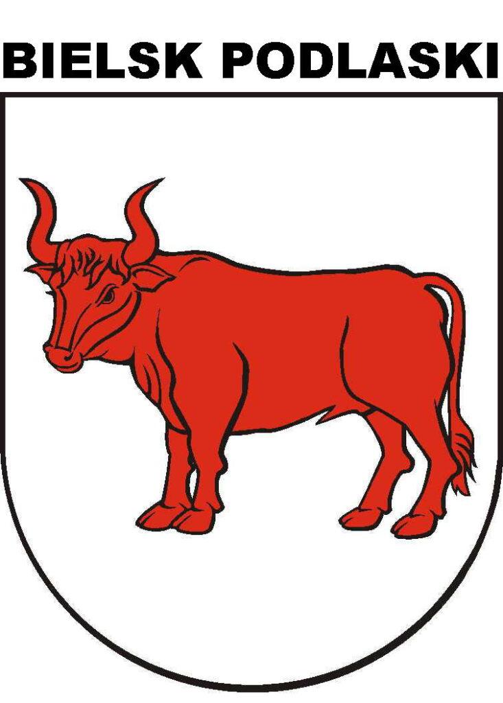 Herb Bielska Podlaskiego, czerwony tur zwrócony w heraldycznie prawą stronę na tarczy koloru białego z głową lekko zwróconą ku widzowi