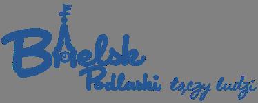 Granatowe logo w formie podpisu o treści: Bielsk Podlaski łączy ludzi; w drugiej literze słowa Bielsk wpisany kontur wieży ratuszowej