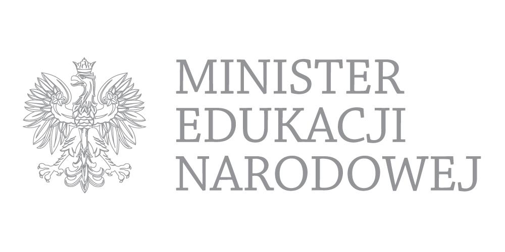 Szare logo z rołem i napisem Minister Edukacji Narodowej