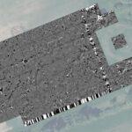 Wizualizacja danych magnetometrycznych osady w Grodzisku oraz niewielkiego fragmentu majdanu grodziska