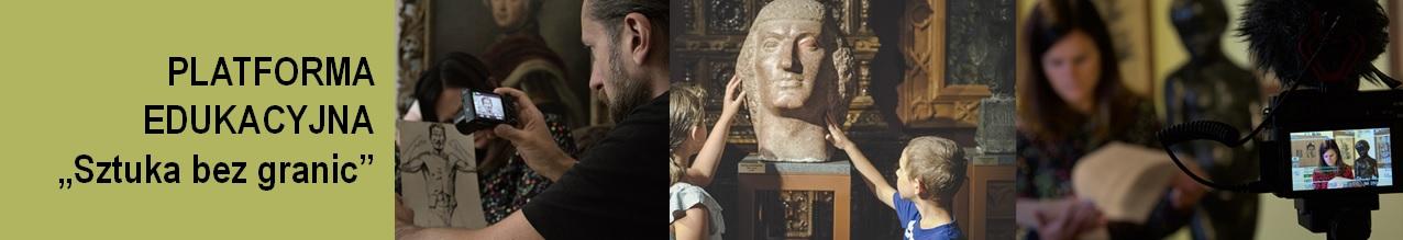 Po prawej stronie na zdjęciu widać młoda kobietę oraz aparat fotograficzny. Po środku brązowa rzeźba na postumencie, którą dotykają dzieci. Po lewej fotograf robiący zdjęcie szkicowi. Obok napis: Platforma edukacyjna ,,Sztuka bez granic''