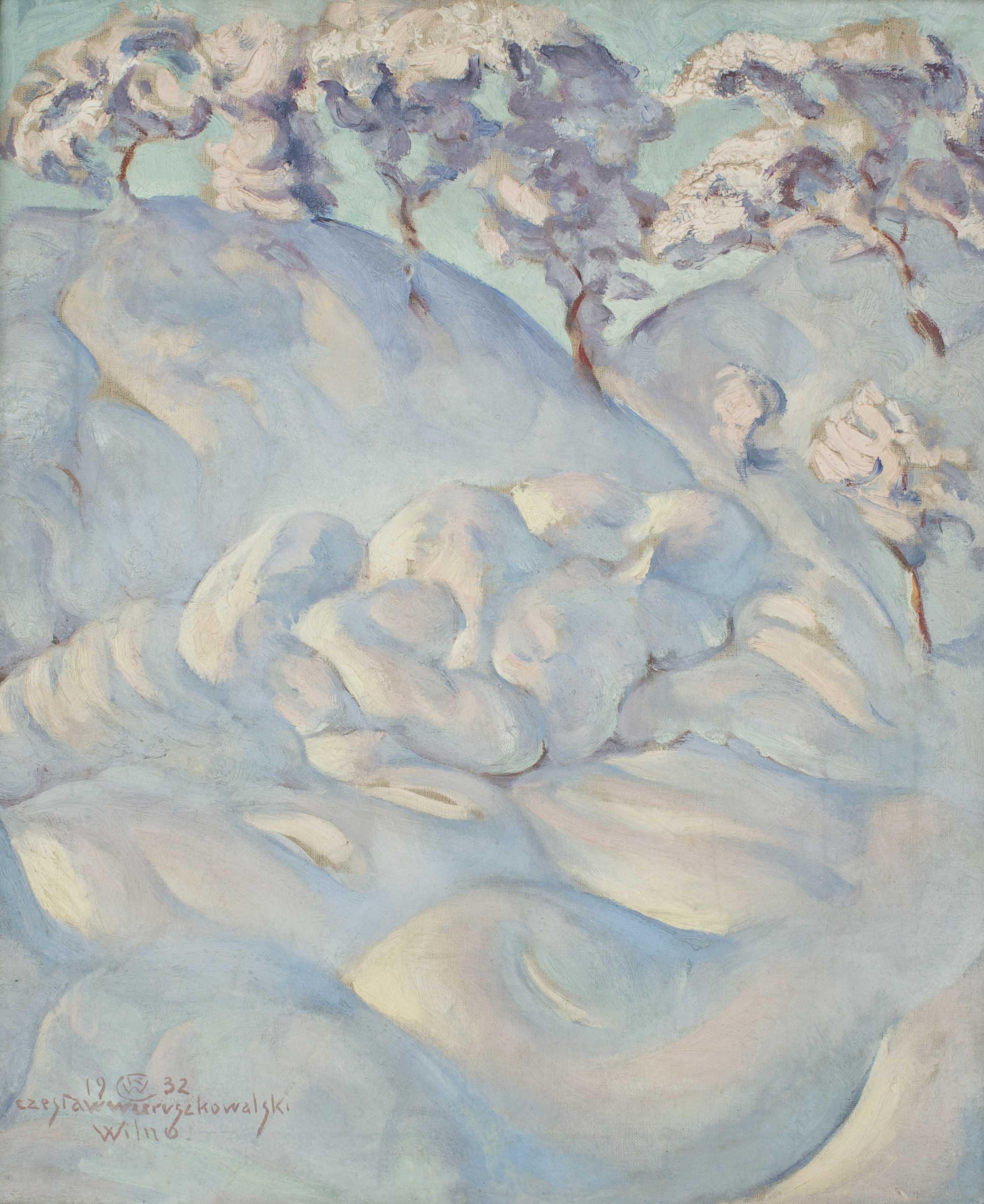 Obraz przedstawiający ogromne zwały śniegu leżącego na ziemi oraz śnieg leżący na drzewach w tle.
