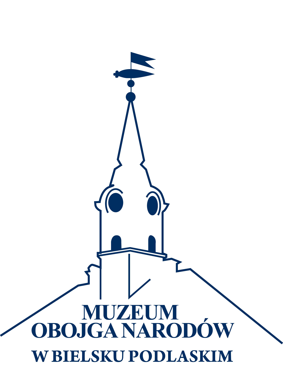 Granatowo - białe logo Muzeum Obojga Narodów w Bielsku Podlaskim. Kontury wieży bielskiego Ratusza.