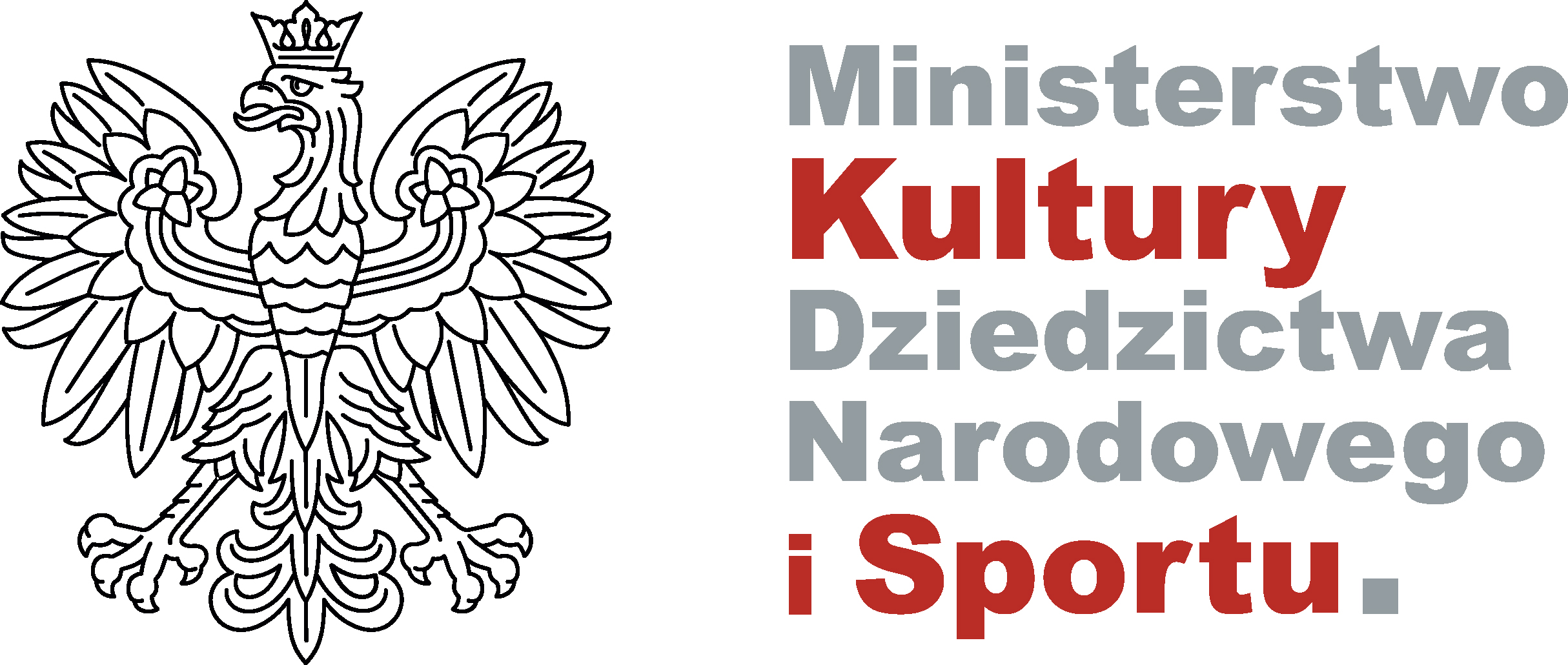 Logo z widocznym czarno-białym orłem w koronie. Po prawej stronie napis: Ministerstwo Kultury Dziedzictwa Narodowego i Sportu