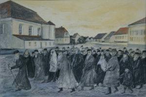 Na pierwszym planie rysunku widać dużą grupę Żydów, a w tle synagoga i zabudowa miasta Tykocin.