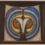 Obraz olejny przedstawiający głowę sowy.