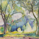 Obraz akwarelowy przedstawiający Górę Zamkową w Oleśnicy