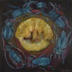 Obraz olejny na płótnie przedstawiający siedem żuków w kole