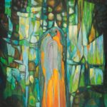 Kolorowy obraz z akrylu przedstawiający puszczańską świątynię