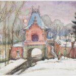 Obraz akwarelowy na papierze przedstawiający pałac carski w Białowieży zimową porą