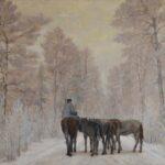 Obraz olejny przedstawiający drogę leśną zimową porą. Widać pięć koni tyłem, a na jednej siedzi mężczyzna