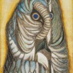 Obraz olejny na płótnie przedstawiający szaro - niebieską sowę