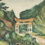 Obraz akwarelowy przedstawiający ogród japoński i bramę w Parku Szczytnickim we Wrocławiu
