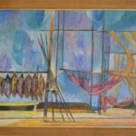 Kolorowy obraz przedstawiający wędki i ryby wiszące jedna obok drugiej