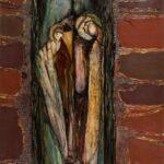 Ciemny obraz olejny przedstawiający dziuplę sowy w drzewie